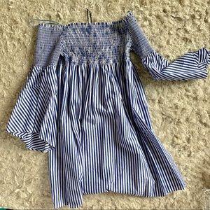 Blue & White striped Zara strapless dress!